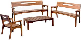 Alaterre Otero Eucalyptus Wood Outdoor Set With 3-Seat Bench
