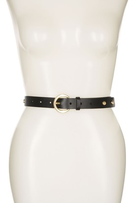 Halogen Skinny Stud Leather Belt
