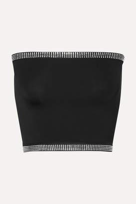 Adam Selman Crystal-embellished Stretch Bustier Top - Black