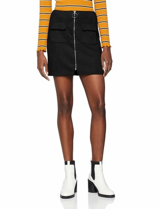 NEON COCO Women's Faux Suede Front Zip Mini Skirt Black (Negro C10) Small