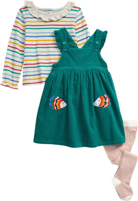 Boden Pinnie Applique Corduroy Pinafore Dress, Stripe T-Shirt & Tights Set