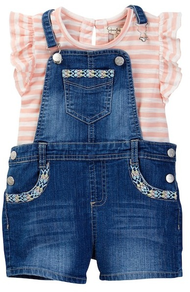 Jessica Simpson Embroidered Overall & Striped Shirt Set (Toddler Girls)