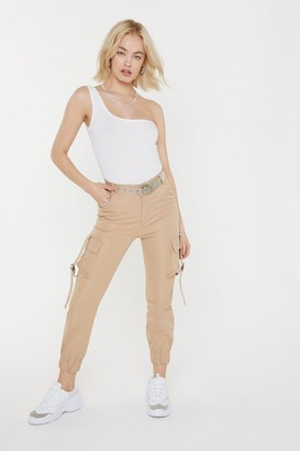 Nasty Gal Womens Just Don't Give a Cuff Utility Trousers - Beige - L