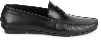 Roberto Cavalli Firenze Logo Leather Driving Loafers