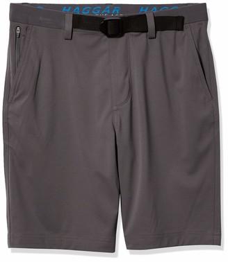 Haggar Men's Active Series Stretch Solid Buckle Flat Front Straight Fit Flex Waist Short