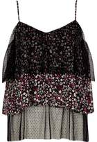 River Island Womens Black dobby mesh floral frill cami top