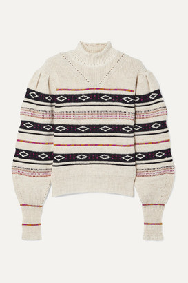 Isabel Marant Conelly Pointelle-trimmed Intarsia Knitted Turtleneck Sweater - White