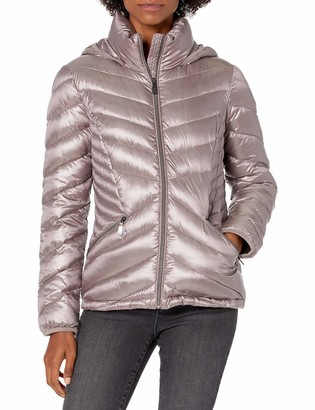 Calvin Klein womens short packable with stand collar and hood