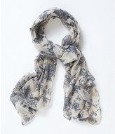 Apricot Cream & Grey Painterly Floral Print Scarf