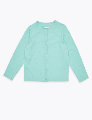 Marks and Spencer Cotton Swiss Dot Cardigan (2-7 Yrs)