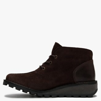 Fly London Mili Espresso & Dark Brown Suede & Leather Low Wedge Ankle Boots