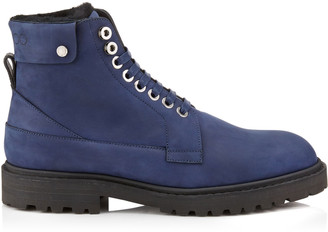 Jimmy Choo The Voyager: SNOW/M Navy Nubuck Leather and Black Shearling Ankle Boots with Heated Soles