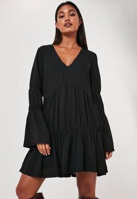 Missguided Black V Neck Tiered Smock Dress