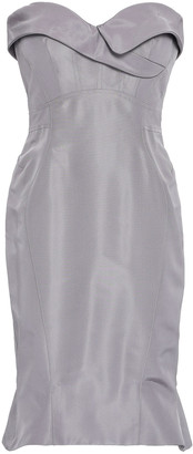 Zac Posen Strapless Flared Silk-faille Dress