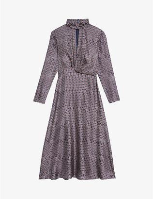 Sandro Cashy graphic-print silk-satin midi dress