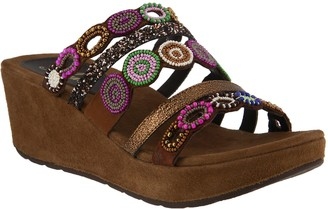 Spring Step Azura by Slide Wedge Sandals- Claretha