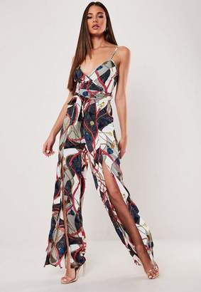 Missguided Cream Chain Print Wrap Front Wide Leg Romper