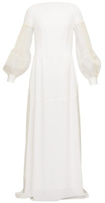 Loewe Embroidered Pleated-sleeve Open-back Crepe Dress - Womens - White