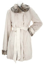 As Is Dennis Basso Belted Faux Fur Shawl Collar Coat with Pockets