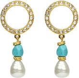 Ben-Amun Pearly Turquoise-Stone Dangle Earrings