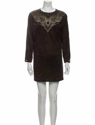 Isabel Marant Leather Mini Dress Brown