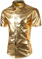 JOGAL Mens Metallic Silver Nightclub Styles Short Sleeves Button Down Dress Shirts Medium