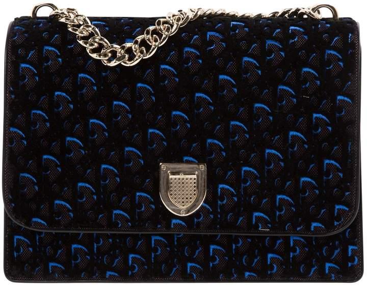 Christian Dior Diorama Blue Velvet Handbag