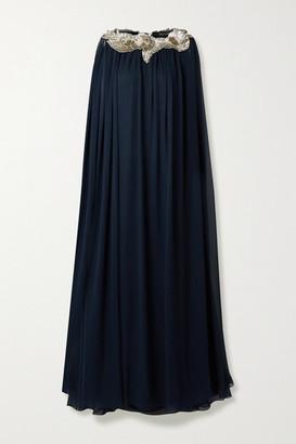 Oscar de la Renta Cape-effect Embellished Silk-chiffon Gown - Navy