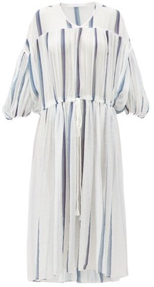 Binetti Love Monaco Balloon-sleeve Striped Cotton Dress - Womens - White Stripe