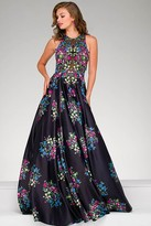 Jovani Sleeveless Floral A line Gown 49225