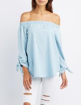 Charlotte Russe Chambray Off-The-Shoulder Tie Sleeve Top