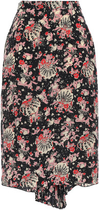 Anna Sui Draped Pleated Silk Pencil Skirt