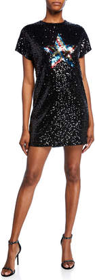 Aidan Mattox Star Sequin Short-Sleeve Mini Shift Dress