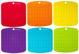 "YiLife® Premium Silicone Pot Holder,Trivets,Hot Mitts,Spoon Rest And Garlic Peeler Non Slip,Heat Resistant Hot Pads,Multipurpose Kitchen Tool."" Potholders(Set of 6) Non Slip,Dishwasher Safe,Durable."