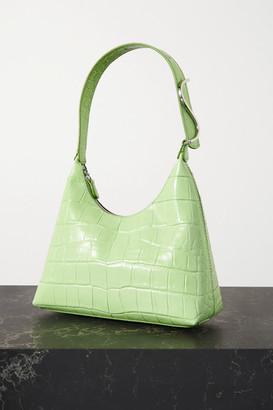 STAUD Scotty Croc-effect Leather Shoulder Bag - Light green