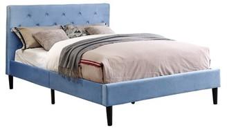 Online Frohm Microfiber Twin Button Tufted Platform Bed, Light Blue