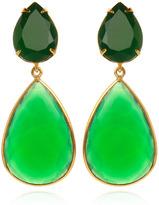 Bounkit Faceted Green Onyx Earrings with Removable Drops