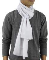 Wool and Silk Men's Scarf Muffler from India, 'Kashmir Silver'