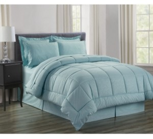 Elegant Comfort Wrinkle Resistant - Silky Soft Vine Bed-in-a-Bag 8-Piece Comforter Set - Hypoallergenic Full/Queen Bedding