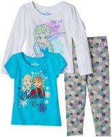 Disney Disney's Frozen Anna & Elsa Toddler Girl Long Sleeve Tee, Short Sleeve Tee & Leggings Set