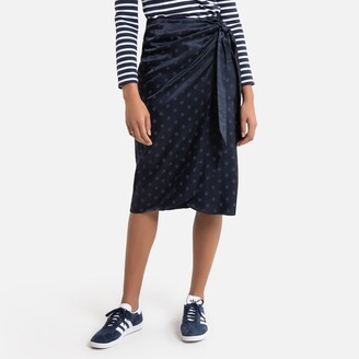 La Redoute Collections Mid-Length Wrapover Skirt in Polka Dot Print