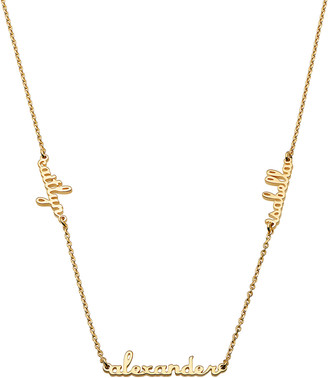 Limoges Jewelry Women's Necklaces GOLD - 14k Gold-Plated Script Three-Name Personalized Bar Necklace