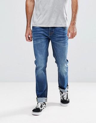 Hoxton Denim Slim Fit Jeans in Mid Wash Blue
