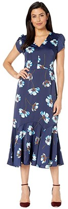 Maggy London Tossed Gerber Printed Charmeuse Fit and Flare Dress (Navy/Seafoam) Women's Dress
