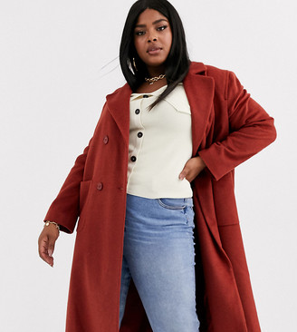 Helene Berman Plus double breasted longline coat in wool blend
