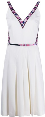 Emilio Pucci Printed Trim V-Neck Belted Dress
