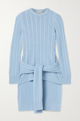 Michael Kors Tie-detailed Asymmetric Cable-knit Cashmere Sweater - Sky blue