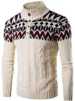 jeansian Men's Retro Stitching Jacquard Sweater Knitted Cardigan 88G4 M