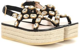 Gucci Crystal-embellished espadrille sandals