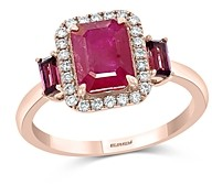 Bloomingdale's Ruby, Rhodolite & Diamond Halo Ring in 14k Rose Gold - 100% Exclusive